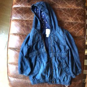 Old navy girls soft denim hooded jacket 3T